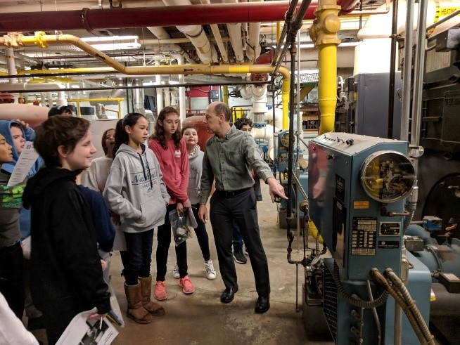 Students auditing boiler room